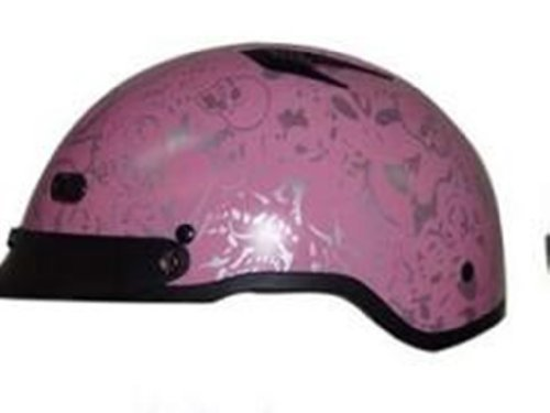DOT VENTED PINK BONEYARD LADIES MOTORCYCLE HALF/BEANIE HELMET-100VBYP-XS (Shorty Beanie Helmet Dot)