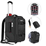 Neewer 2-in-1 Camera Rolling Backpack Trolley Case with TSA Lock, Anti-Shock Detachable Padded Compartment, Hidden Pull Bar, Durable, Waterproof for Lens, Lens Hood, and Tablet (Black/Red)