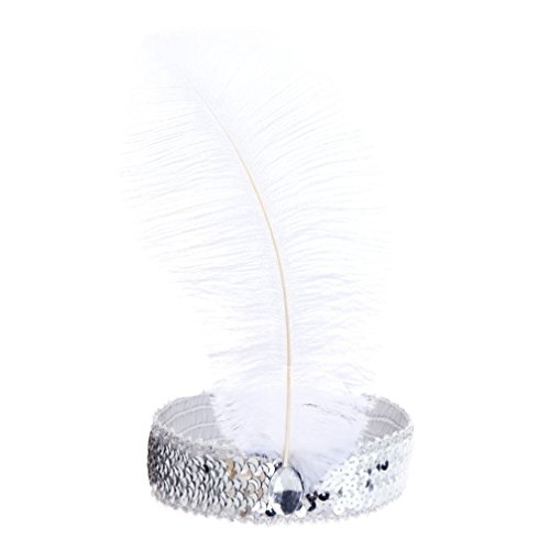 BODYA Headband 20's Deluxe White Silver Flapper Sequin Charleston Dress Costume Hairband Headpiece (Dance Costumes From China)