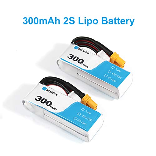 BETAFPV 2pcs 300mAh 2S Lipo Battery HV Battery 35C/70C 7.4V XT30 20AWG Silicone Wire 2S Whoop Drone Beta75X