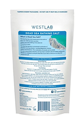 Dead Sea Salt Mineral Bathing (Soothing, for Irritated Skin) 2 Pack (4.4 lb total) by Westlab (Image #1)