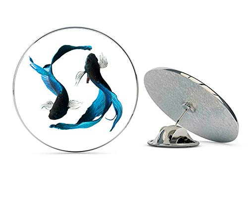 BRK Studio Blue and Black Beta Fish Round Metal 0.75