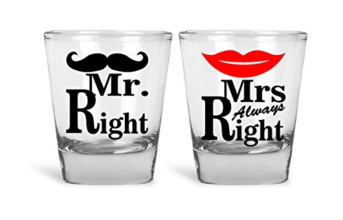 Mr. Right & Mrs. Always Right Funny Novelty Couples Shot Glasses | Great for Bride, Groom, Bachelor and Bachelorette Party by Mad Ink Fashions