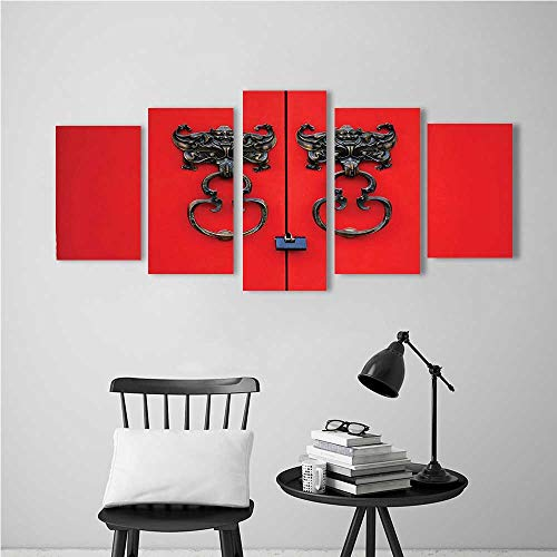 Dolphin Design Door Knocker - Wulian Paintings Combination of Decorative Frameless Rustic Bat Door Knocker on Door Entrance Design and Cultural Red and Copper for Living Room, Bedroom,Hotel and so on