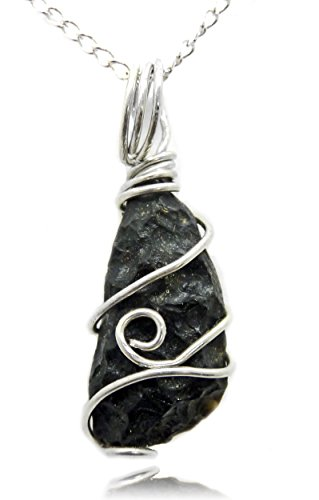 Tektite Meteorite wire wrapped pendant necklace, real space rock, custom made unique handcrafted gift