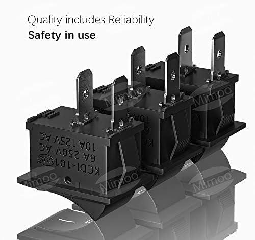 6A 20pcs Interruptor Coche Rocker Interruptor 10A 250V SPST On//Off Auto Boton Interruptor Rocker Switch+Conector de bater/ía de 9v (6pcs ) VISSQH Interruptores para Coche 125V
