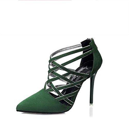 L@YC Frauen-Leder High Heels Fr¨¹hjahr und Herbst und Winter Komfortable Schuhe Toes High Heels Kleid Pumps Blue