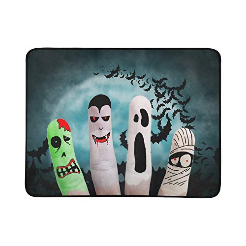 APJDFNKL Painted Finger Monsters Halloween Zombie Vampire Portable and Foldable Blanket Mat 60x78 Inch Handy Mat for Camping Picnic Beach Indoor Outdoor Travel ()