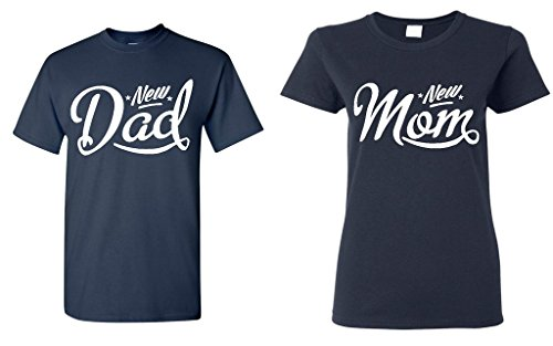 Shop4Ever New Dad and New Mom T-shirt Couples Matching Shirts-- Men Large Navy// Women Large Navy