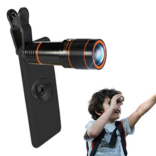 Phone Camera Lens, Qliampe 12X Zoom Telephoto Lens for Smartphone 2 in 1 HD Dual Focus Monocular for Adults Clip on Telephone Lens Kit Compatible iPhone X/8/7/6/6s Plus Samsung from Qliampe