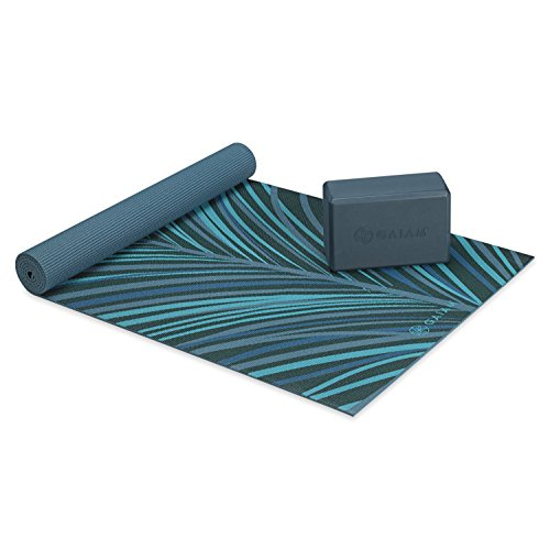 Gaiam Classic Cushion & Support Yoga Kit , Aqua Plume, 4mm