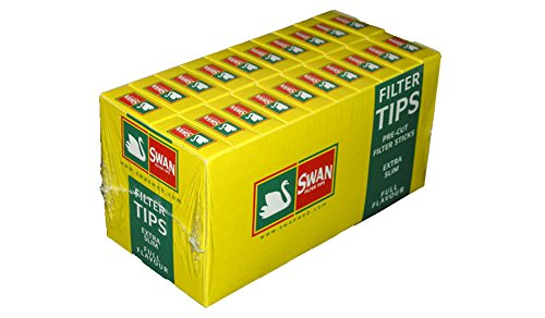 Price comparison product image Swan 10 Pack of Swan Extra Slim Cigarette Filter Tips(half Box) = 1200 Tips