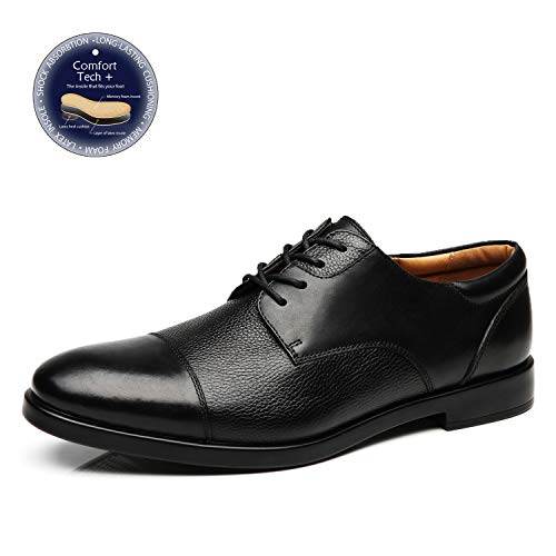La Milano Mens Wide Width Cap Toe Leather Lace-up Oxford Comfortable Formal Extra Wide Dress Shoes ()