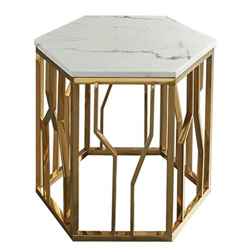 Mesa baja efecto marmol, mesa de comedor hexagonal elegante, mesita de noche para salon, dormitorio, marco de metal dorado, facil de limpiar.