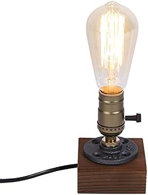 Singeru mini Vintage Edison lámpara de mesa bombilla E27 Luces de escritorio Mesita de noche de madera antigua Base de brida Lámparas de noche para el dormitorio Cafe Bar Decoración de la