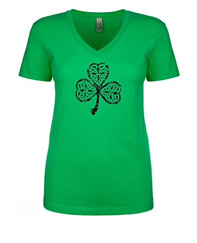 Women's Gaelic Clover Shamrock St. Patricks Day Short Sleeve V Neck T Shirt Medium Kelly Green/Black - Exclusive Short Sleeve V-neck T-shirt