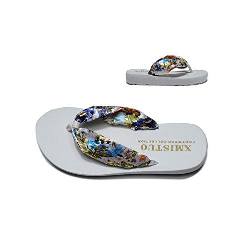 Butterme Frauen Bohemian Floral Sandalen Sommer Strand Schuhe Sandale Keil Plattform Startseite Flip Flops Hausschuhe Goldenes Weiß
