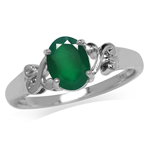 1.12ct. Natural Emerald Green Agate 925 Sterling Silver Victorian Style Solitaire Ring Size ()