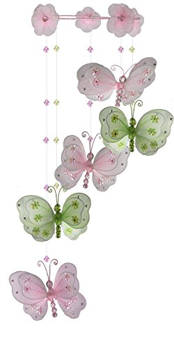 The Butterfly Grove Chloe Butterfly Nursery Mobile Hanging Nylon Layered Decor, Pink/Green