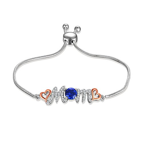 Bracelets Gold Tennis Gemstone (Caperci Adjustable White Gold Created Blue Sapphire Gemstone Love Mom Bolo Bracelet for Women Mom, 9'')