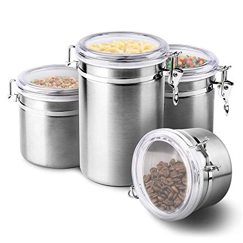 4-Piece Stainless Steel Airtight Canister Set, Beautiful Food Storage Container for Kitchen Counter, Tea, Sugar, Coffee, Caddy, Flour Canister with Clear Acrylic Lid Locking Clamp Up to 65 oz ()