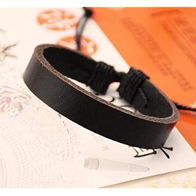 ZUOZUO Leather Wristband Unisex Cuffs Black Leather Bracelets Jewelry Gifts Men And Women 60Cm Wheels Wrist Estimated Price £15.99 -