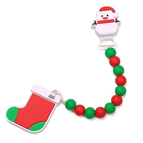 Leayjeen Baby Teething Toys Silicone Teether Egg Chew Beaded Pendant Holder for Newborn Boys Girls