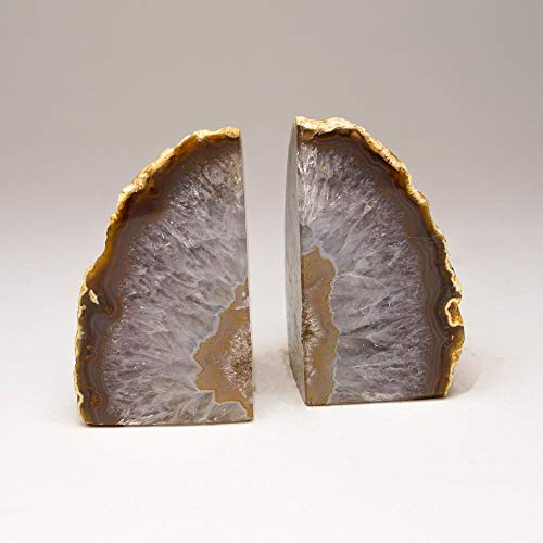 Astro Gallery of Gems Brown with Natural Banded Agate Bookends from Brazil (1 lbs)