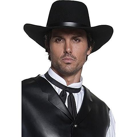 Smiffy's Men's Western Gunslinger Hat, Black, Wide Brimmed, One Size, 36338 (Wild West Accessories)