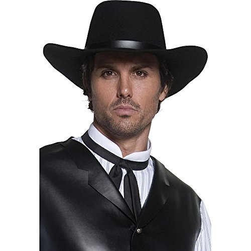 Smiffy's Men's Western Gunslinger Hat, Black, Wide Brimmed, One Size, 36338 (Wild West Fancy Dress)