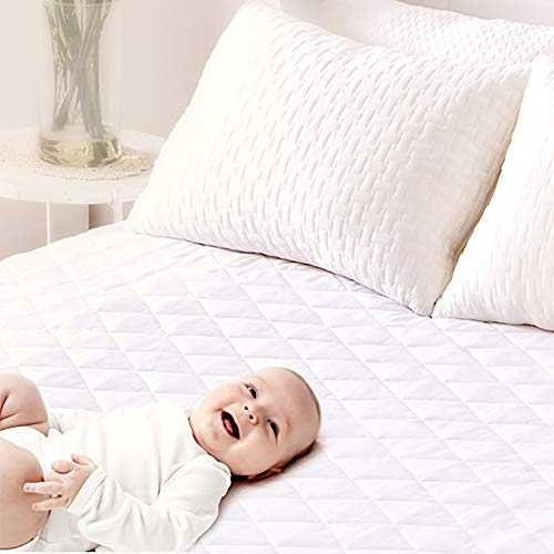 Pad Queen Waterproof Mattress (Baby Mattress Pad Protector, Queen Size Waterproof Quilted Topper Cover with FDA Certified Hypoallergenic Down Alternative, Antibacterial, Dust Mite Protection, Deep Pocket Fitted Skirt 16 Inch)