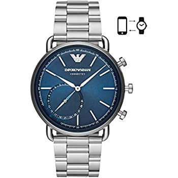 112923a8b12f2 Emporio Armani Men s ART3028 Hybrid Smartwatch Analog Display Analog Quartz  Silver Watch
