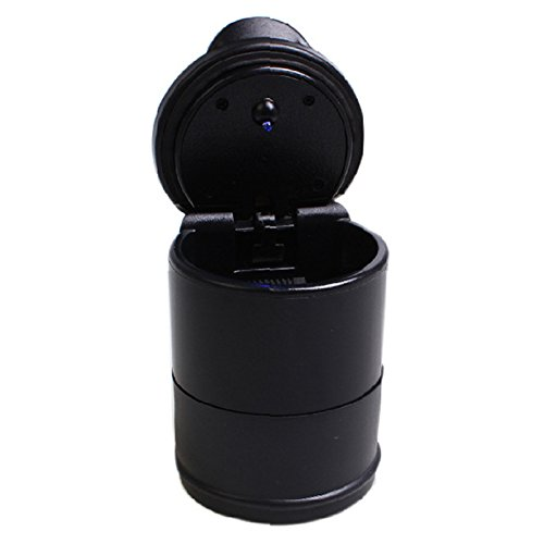 Zhuhaitf Home Office Garden Portable Travel Car Auto Cylinder Ashtray With Led Light -Black