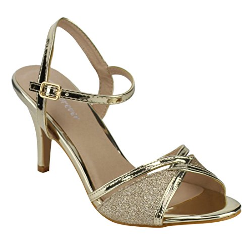 Gold Dress Sandals (FOREVER FQ28 Women's Glitter Metallic Ankle Strap Buckle Wrapped Heel Sandals, Color Gold, Size:8.5)