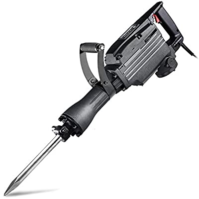 Neiko 02845A Electric Demolition Jack Hammer with Point and Flat Chisel Bits | Includes 4 Extra Carbon Brushes and Safety Protection Kit