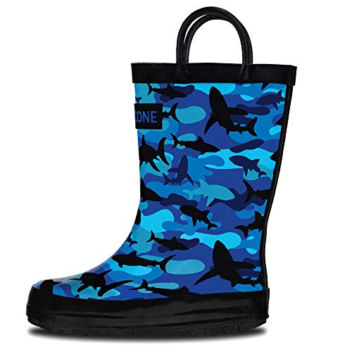 - LONECONE Rain Boots with Easy-On Handles in Fun Patterns for Toddlers and Kids, Shark Shadows (Camo), 9 Toddler