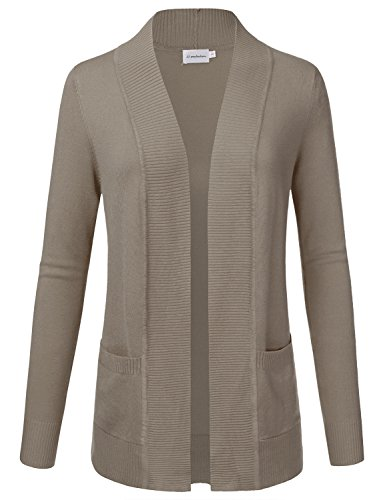 JJ Perfection Women's Open Front Knit Long Sleeve Pockets Sweater Cardigan Camel - Camel Pocket Front