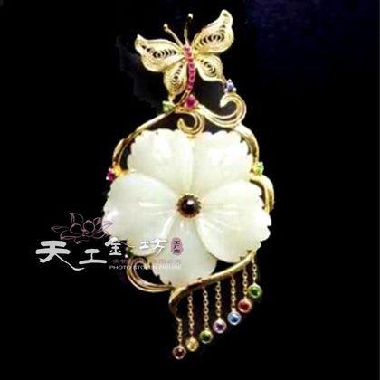 18k Filigree Pendant - TKHNE Custom 925 silver gilt filigree inlaid gold 18k retro gem palace jewelry necklace pendant custom processing