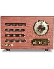 LoopTone AM FM Vintage Antenna Radio with Bluetooth Speaker,Retro Wood Table Radio for Kitchen Living Room with Rotary Knob