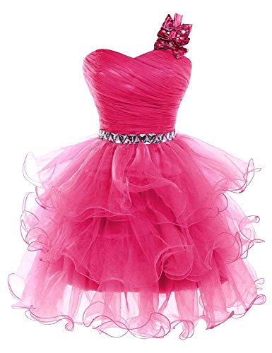Lilibridal Short Prom Dresses Beaded Puffy One Shoulder Homecoming Pageant Fomal Evening Ball Gowns 083 fuchsia ()
