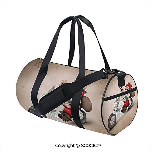 (Unisex Cylinder Sports Bag,Rock Grunge Santa with Heart Tattoo on Motorbike Delivery Bikie PeaceBarrel Bag for Women and Men,(17.6 x 9 x 9 in) Red Cream)