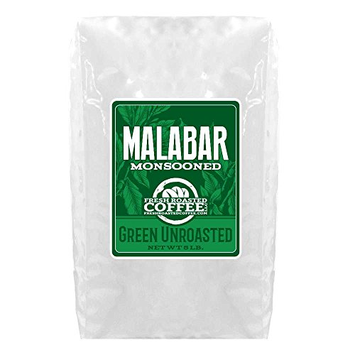 Green Unroasted Coffee, 5 Lb. Bag, Fresh Roasted Coffee LLC. (Monsooned Malabar)