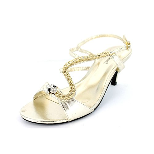 Anne Michelle Womens/Ladies Snake Design Heeled Sandals Silver uOvY5
