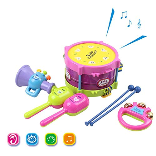 TelDen 5 Piece Baby Drum Set Toys with Dancing Bell, Sand Hammers, Small Horn, Drum Cones