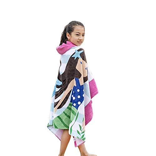 InsHere 100% Cotton Mermaid Kids Hooded Towels Poncho, Super Soft and Absorbent, 50