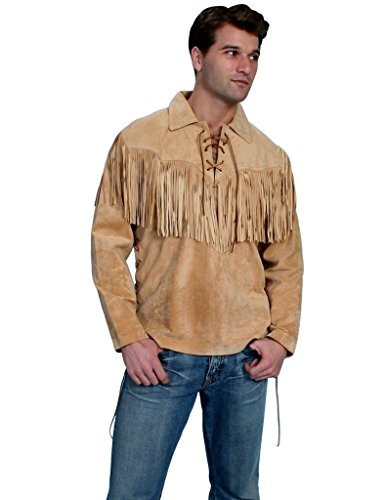 Fringed Suede Leather (Scully Men's Fringed Boar Suede Leather Shirt Tan Large)