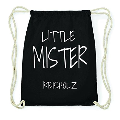 JOllify REISHOLZ Hipster Turnbeutel Tasche Rucksack aus Baumwolle - Farbe: schwarz Design: Little Mister