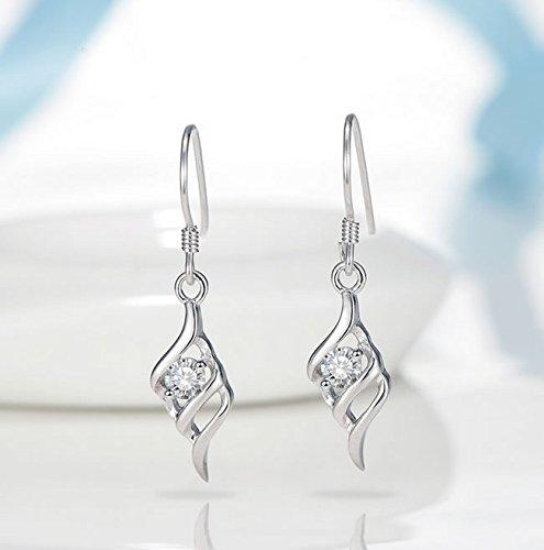 Joyfulshine Women Drop Earrings Dangling 925 Sterling Silver 3A Cubic Zirconia Hooks for Ladies Delicate Gift