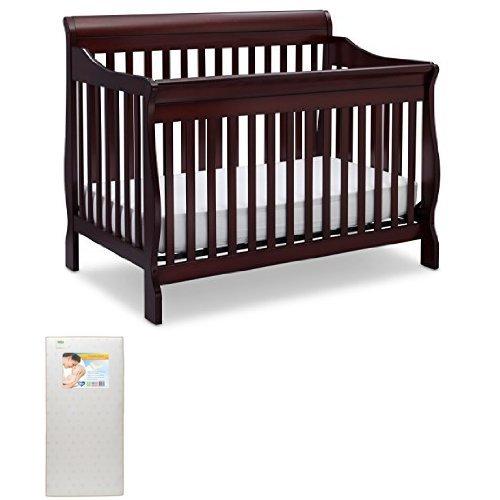 Delta Children Canton 4-in-1 Convertible Crib, Espresso Cherry with Twinkle Stars Crib & Toddler Mattress