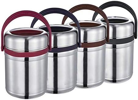 保温 弁当箱 大容量、3層魔法瓶ステンレス食品フラスコ、漏れ防止真空断熱食品容器、ポータブルハンドル (Color : Purple, Size : 1800ML)